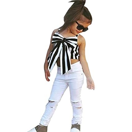e1125b644bfc GBSELL 2PCS Summer Clothes Little Girl Striped Bow Tops + Ripped Jean Pants  Outfits Set (