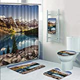 Philip-home 5 Piece Banded Shower Curtain Set Landscape View of Moraine Lake and Mountain Range at Sun in Canadian Rocky Mountains Pattern Printing Suit