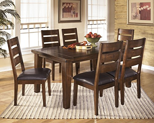 Lairecmont Casual Burnished Dark Brown Color Rectangular Dining Room Set, Table, 6 Chairs