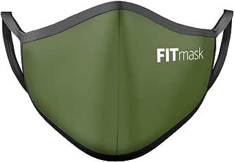 FITmask Mascarilla Reutilizable Lavable Certificada Tejido Hidrófugo Made in Spain Army Green - Adulto Orejera - L
