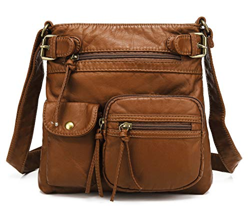 Scarleton Small Multi Pocket Crossbody Bag for Women, Ultra Soft Washed Vegan Leather Shoulder Purse, Brown, H183304