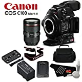Canon EOS C100 Mark II with Dual Pixel CMOS AF & EF 24-105mm f/4L IS II USM Zoom Lens Kit International Version (No Warranty)- Bronze Level Bundle