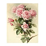 GMYANZSH Full Diamond Embroidery Pink Rose Wall Art Painting DIY Resin Rhinestones Diamond Mosaic Cross Stitch Handmade Gift