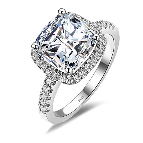 Jewelrypalace Womens 3ct Cubic Zirconia Cz Wedding Band Anniversary Halo Engagement Ring 925 Sterling Silver Size 8