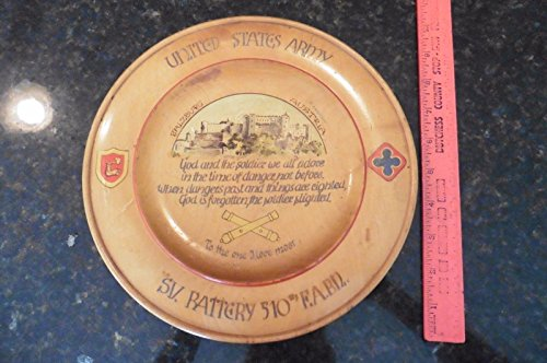 Vintage US Army Wood plate dish SV Battery 510 Field Artillery Battalion Soldier