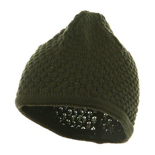 Hand Crocheted Beanie (03) - Olive OSFM (E4hats Lightweight Beanie)