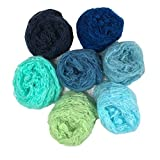 7 Pack Newborn Baby Photo Wraps Set Silk Touch Boy Girl Infant Photography Photoshoot Props Crochet Blanket 23.6x11.8 inch Blue Green