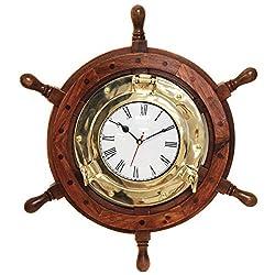 Nagina International Nautical 18 Ship Wheel Brass Porthole Wall Clock
