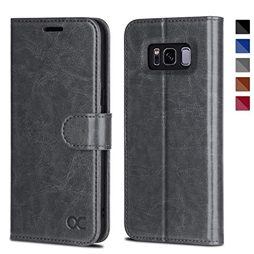 OCASE Samsung Galaxy S8 Case Leather Flip Wallet Case for Samsung Galaxy S8 Devices - Gray ()