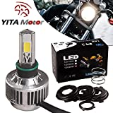 YITAMOTOR H4 COB LED Bulb HID White 360° Hi/Low Beam Motorcycle Headlight 6500K High Power