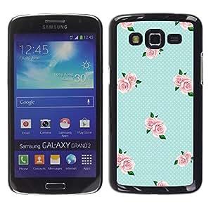 FECELL CITY // Duro Aluminio Pegatina PC Caso decorativo Funda Carcasa de Protección para Samsung Galaxy Grand 2 SM-G7102 SM-G7105 // Pink Baby Blue Roses