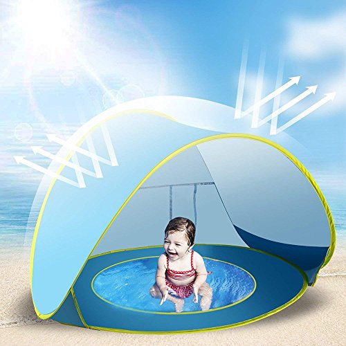 - Jasonwell Baby Beach Tent Toy Portable Pop Up Sun Shade Kiddie Tent Pool with Canopy UV Protection Sun Shelter for Infant - Blue