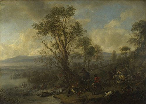 Oil painting 'Philips Wouwermans A Stag Hunt ' printing on Perfect effect canvas , 18 x 25 inch / 46 x 64 cm ,the best Bathroom gallery art and Home decoration and Gifts is this Reproductions Art Decorative Canvas Prints