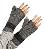 100% Wool Fingerless Gloves Arm Warmer Winter Warm Fleece Lining Gloves Hand Knit Crochet Woman Cable Thumb Hole (Grey)