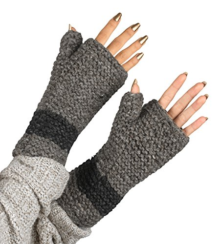 100% Wool Fingerless Gloves Arm Warmer Winter Warm Fleece Lining Gloves Hand Knit Crochet Woman Cable Thumb Hole (Grey) by Tribe Azure Fair Trade