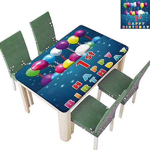 Printsonne Polyester Tablecloth Balloons with Stars Image in a Pocket Party Theme Dark Blue Pink Easy Care Spillproof 54 x 102 Inch (Elastic Edge) -