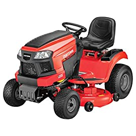Craftsman T225 19 HP Briggs & Stratton Gold 46-Inch Gas Powered Riding Lawn Mower 65 POWERFUL BRIGGS AND STRATTON GAS ENGINE WITH READY START: Powerful gas engine suitable for larger yard jobs while ready start technology provides a quick, efficient start. 46-INCH CUTTING WITH INCLUDED DECK WASH: Lawn tractor comes equipped with wide 46-Inch cutting deck for cutting, trimming, and clipping grass in one quick sweep. Included deck wash saves time when underside cleaning. HYDRO-TRANSMISSION: Unit is equipped with foot hydrostatic transmission.