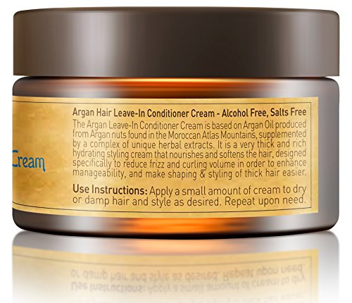 Vitamins Leave In Conditioner Cream - Coarse Thick Ethnic Hair Anti Frizz Styling Product with Nourishing Moroccan Argan Oil by Vitamins Hair Cosmetics (Image #2)