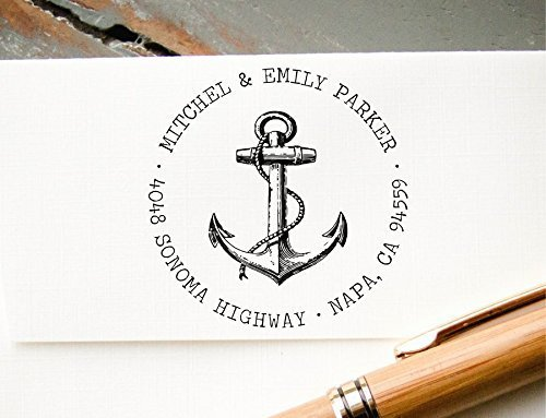 Self-Inking Return Address Stamp, Pre-Inked Custom Rubber Stamp, Anchor Graphic Wedding Invitation Stamp, Save the Date Stamp by InkMeThis Calligraphy & Engraving