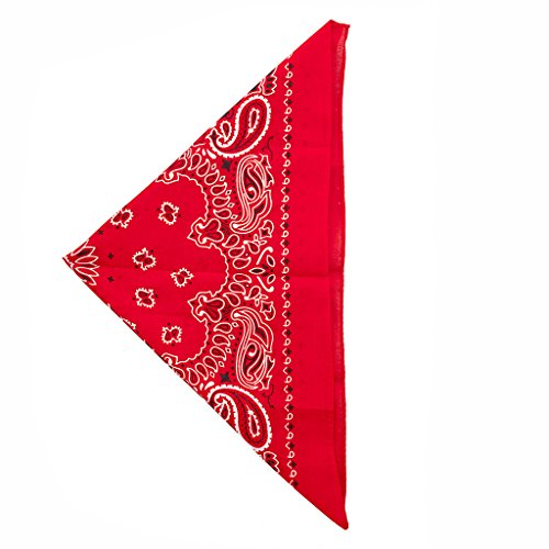 [Lux Accessories Red Paisley Printed Bandana Scarf] (Clown Around Makeup Kit)