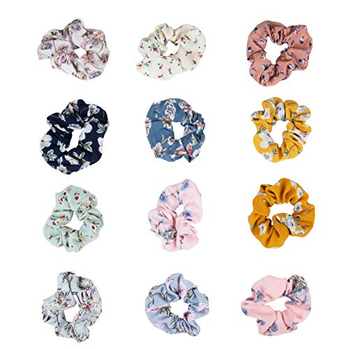 Juvale 12-Pack Floral Chiffon Elastic Hair Tie Scrunchies (Designs Selected Randomly)]()