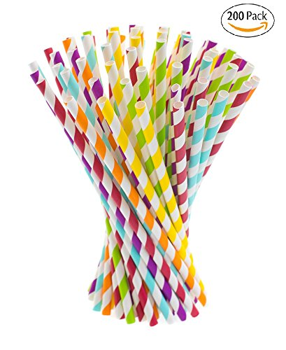 Paper Straws, 200 pack, Multicolor Striped