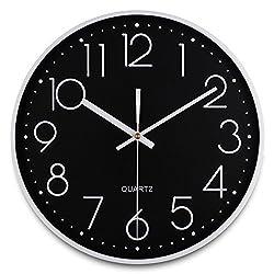JUANSTAR Large 3D Number Wall Clock Silent Non-Ticking Quartz Wall Clock for Home Meeting Room Classroom Office (Black)