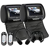 OukuBlack Color Pair of Headrest Pillow 7 LCD Car Monitors with Region Free DVD player USB SD Wireless Dual Channel Headphones and 32 Bit Games and Zipper Cover