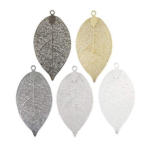 Youdiyla 5pcs Bulk Filigree Leaf Charms, Tree Leaves Charm Metal Pendant Supplies Craft Findings for Bookmark Jewelry Making (HM244)