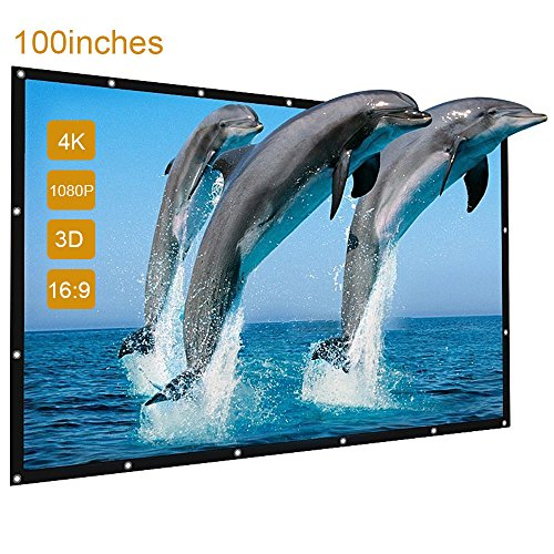 Outdoor Projector Screen, GBTIGER 100 inch 16:9 Outdoor Portable Folding Movie Screen for Home Cinema Theate Movies, Business Presentation, Education Training, Outdoor Indoor Public Display etc.