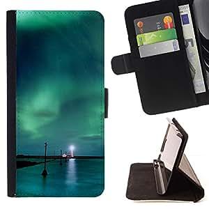 Momo Phone Case / Flip Funda de Cuero Case Cover - Aurora Borealis Faro;;;;;;;; - Samsung Galaxy J3 GSM-J300