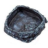 OMEM Reptile Natural Bowl Food and Water Dish Resin Made (Black)