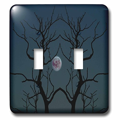 3dRose TDSwhite – Miscellaneous Photography - Creepy Moonlight Tree Silhouette Halloween - Light Switch Covers - double toggle switch (lsp_285385_2)