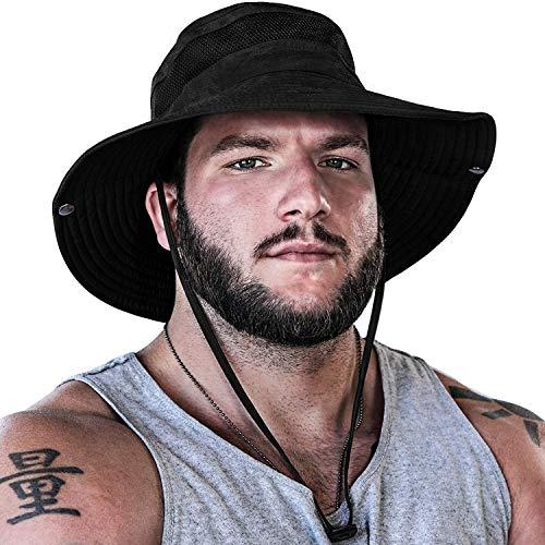GearTOP Sun Hat for Men   Camo Hunting Hat and Safari Cap (Black Camouflage Design)