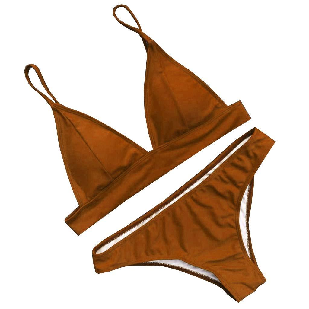 XuxMim Sexy Frauen Solide Push-Up Gepolsterter BH Strand Bikini Set Badeanzug Bademode