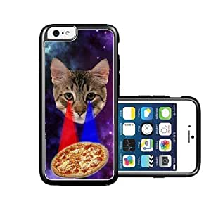 RCGrafix Brand Springink Hipster Cat Eying Pizza Nebula Space iPhone 6 Case - Fits NEW Apple iPhone 6