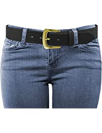 LUNA Women's Thick Wide Leather Belt - Fashion Single / Double Prong Belt (Various Colors / Small to 6XL)