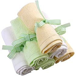 Le Petit Bamboo Baby Washcloths - Premium, Natural Organic Bamboo Wash Cloths - Softest Reusable Wipes - 6 Multicolor Towels
