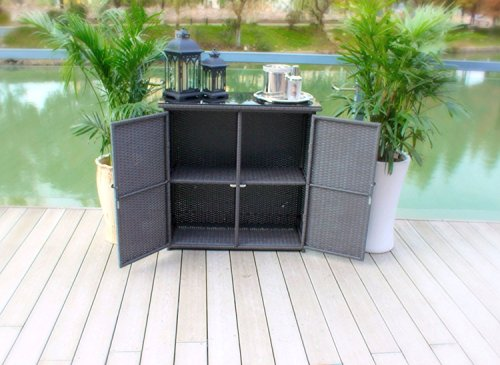 Pebble Lane Living Outdoor Hand Woven UV Resin Wicker and Powder-Coated Aluminum Serving Bar/Buffet Table Unit with Tempered Glass Top - Black by Pebble Lane Living (Image #1)