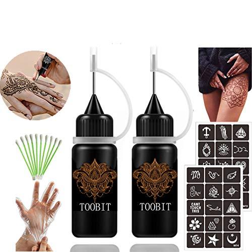 Temporary Tattoo kit Jagua Gel Tattoos - 2 Bottles Brown(1 oz)Semi Permanent Tattoo Freehand Ink Free 30 Pcs Tattoos Stencils 10 Cotton Swabs&1 Pair Disposable Gloves