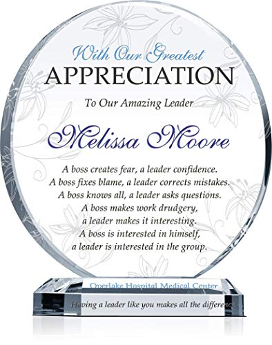 Personalized Boss Appreciation Gift Plaque for Woman, Customized with boss Name and Leadership Quote, Unique Boss Award for Her on Retirement, Farewell, Birthday, Christmas, Boss Day (M - 6.5