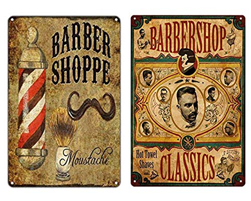 (FDerks Barber Shoppe Moustache Barbershop Hot Towel Shaves Retro Vintage Custom Metal Tin Sign 2 pcs 8 X 12 Inches)