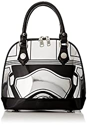 Loungefly Captain Phasma Silver Metallic Embossed Dome Top Handle Bag, Grey, One Size