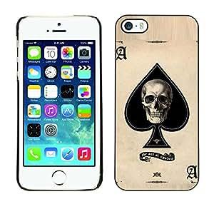Be Good Phone Accessory // Dura Cáscara cubierta Protectora Caso Carcasa Funda de Protección para Apple Iphone 5 / 5S // Ace Skull Poker Gambling Cards Las Vegas