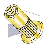 M6-1.0X5.70 Large Flange Blind Threaded Inserts | Flat Head RIBBED | METRIC | Open-End | Low Carbon Steel | Zinc Yellow Plated (QUANTITY: 2000)