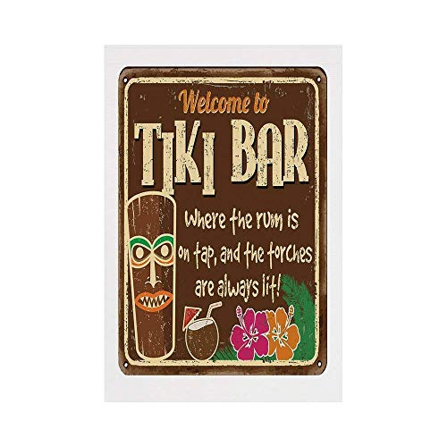 Jiuyuan Tiki Bar Decor,Aged Old Frame Sign of Tiki Bar with Inspirational Quote Leisure Travel,Multicolor,for Wedding Anniversary Home Outdoor Garden Decor ()