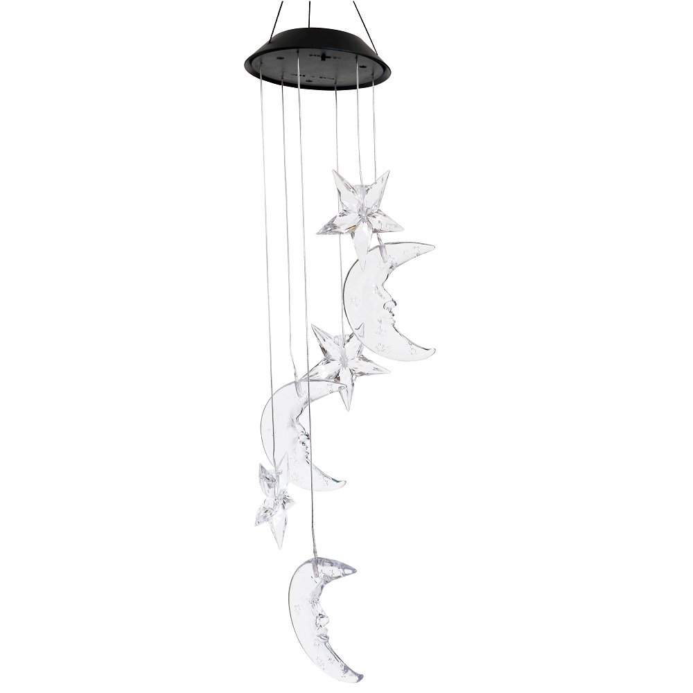 Lighten Glimmer Colorful Solar Spiral Wind Waterproof Changing Romantic Star Moon Wind Chime Light Mobile Balcony Courtyard Hanging (For Outdoor Garden)
