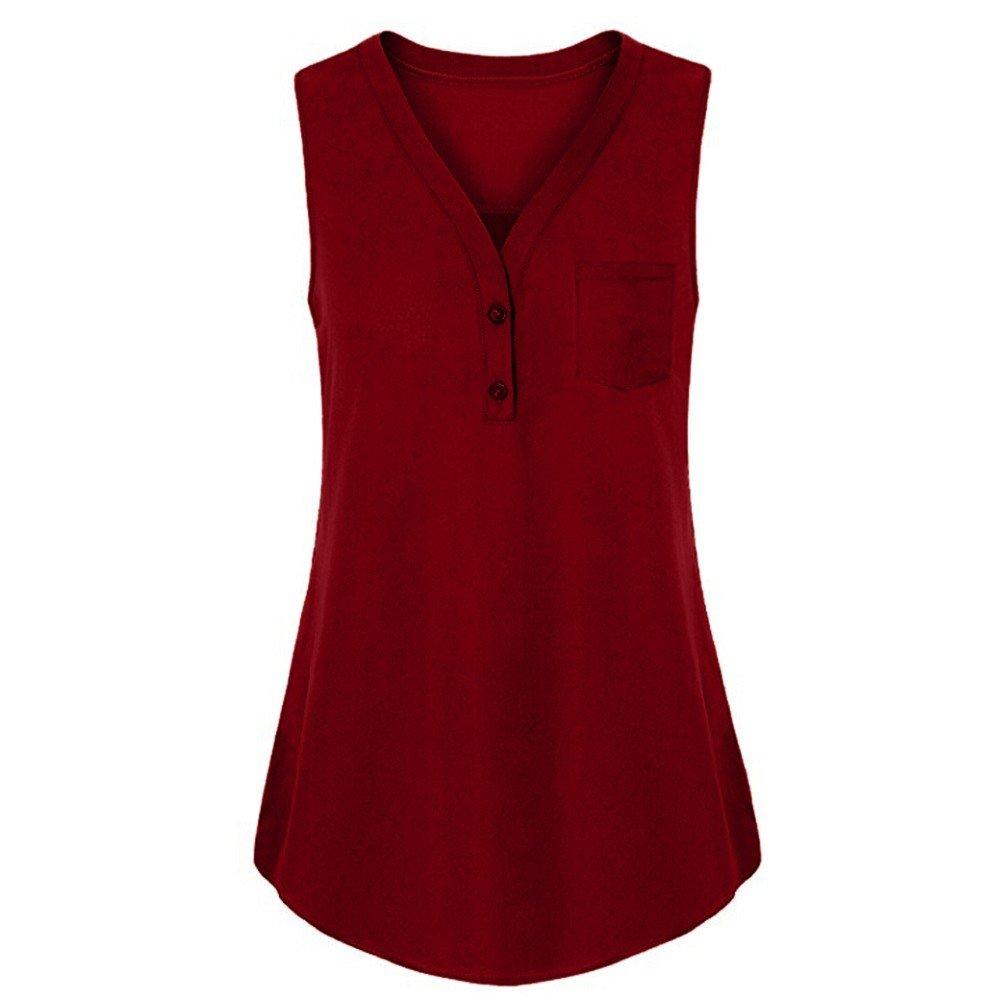 Summer Tank Tops,Women Loose Blouse Sexy Button Cami Vest Sleeveless T-Shirts Bikinis Cardigan Tunic Tees Red