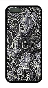 Designed Iphone 5 5s TPU Black With Light Yellow Textures Hard Case