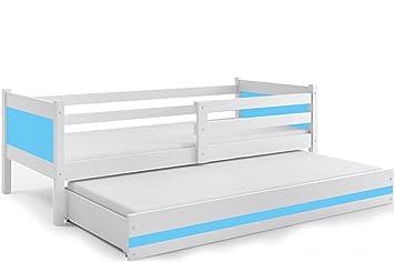 Interbeds Cama Infantil Nido 190X80 Rino con CAJÓN, SOMIERES Y COLCHONES DE Regalo!! Color Blanco (LOS Paneles colchónes incluidos! (Azul Claro): Amazon.es: ...